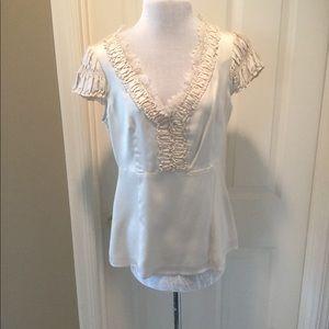 Nanette Lepore Eyelash Lace Silk Blouse